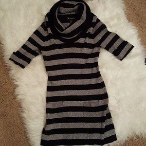 Black & Silver striped sweater dress
